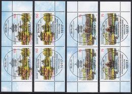 3013-3014 Tempel Bayreuth Und Seoul - Je Vier Ecken Mit Zentrischem ESST Berlin - BRD