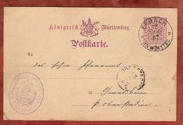 DP 24 Ziffer, Dekanatamt Ehingen, Erbach Nach Grundsheim, AK-Stempel Oberstadion 1887 (71086) - Wuerttemberg
