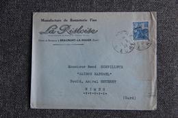 """Timbre Sur Lettre Publicitaire - BEAUMONT LE ROGER (27), Manufacture De Bonneterie """" LA RISLOISE"""" - Textile & Clothing"""