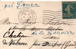 Paris XVI 1920 Place Chopin - Flamme à 7 Vagues Sur Semeuse - Mini-enveloppe Carte De Visite - Marcophilie (Lettres)