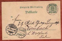 P 37 Ziffer, Freudenstadt Nach Kienbach, AK-Stempel Schiltach + Wolfach 1900 (71088) - Wuerttemberg