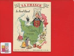 Très Jolie Image Cartonnée Publicitaire Kiwi La France NORD OUEST CAEN ST LO EVREUX ALENCON LAVAL LE MANS - Autres