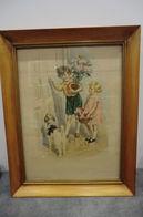 Lithographie Du XX Siècle Signé Féraux Offert Par L'huile De Table Des Chartreux Encadré  Dimensions - 46 Sur 36 Cm - Lithografieën