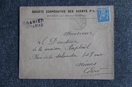 Timbre Sur Lettre Publicitaire - MIRAMAS, Société Coopérative Des Agents P.L.M - France