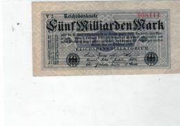 Billet De 5 Milliards Mark, - ND ( Octobre 1923) En T T B - Uni Face - - 5 Milliarden Mark