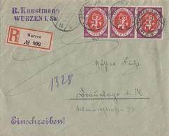 DR R-Brief Mef Minr.3x 110 Wurzen 26.8.20 - Briefe U. Dokumente