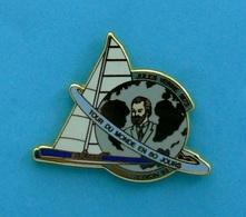 1 PIN'S //  ** TROPHÉE JULES VERNES / 1893 / LE TOUR DU MONDE EN 80 JOURS / EXPLORER / BRUNO PEYRON '93 ** . (MBM PARIS) - Sailing, Yachting