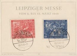 SBZ Anlasskarte Leipziger Messe Minr.230, 231 SST Leipzig 9.3.49 - Soviet Zone