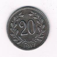 20 HELLER 1917 OOSTENRIJK /2563/ - Oesterreich
