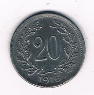 20 HELLER 1916 OOSTENRIJK /2564/ - Autriche