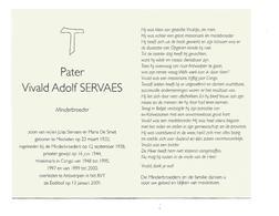 P 924. Pater VIVALD SERVAES - Minderbroeder - °MECHELEN 1920 /MISS. CONGO - +ANTWERPEN 2009 - Images Religieuses