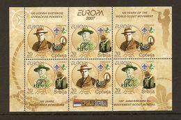 "SERBIA/ SERBIE / SERBIEN - EUROPA  2007-"" A CENTENARY SCOUT -EUROPA-CEPT""-  HOJITA BLOQUE Del CARNET - 2007"
