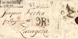 D.P. 4. 1820. Carta De Alemania A Zaragoza. Porteo Y Tránsitos. Marca Franco Bayona. Rarísima. Fechador P.E. 42 A La Lle - ...-1850 Prefilatelia