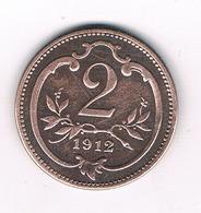 2 HELLER 1912  OOSTENRIJK /2572/ - Autriche