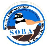 -- SOBA - STATION  ORNITHOLOGIQUE DU BEC D'ALLIER - NEVERS (Nièvre) -  Autocollant -- - Autocollants