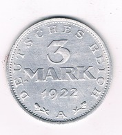 3 MARK 1922 A DUITSLAND /2579// - [ 3] 1918-1933 : Republique De Weimar