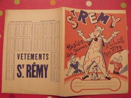 Protège-cahier St Rémy Vêtements. Habille Les Jeunes Et Les Habille Très Bien. Clown Cirque - Protège-cahiers