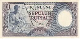 BILLETE DE INDONESIA DE 10 RUPIAH AÑO 1958 ARTESANO   (BANKNOTE) SIN CIRCULAR-UNCIRCULATED - Indonésie