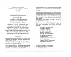 P 930. E.H. ANTOON SCHEEPERS - Priester Bisdom HASSELT - °ACHEL 1920 /LUIK/BOCHOLT/ ST.HUIBRECHTS-LILLE -+NEERPELT 2000 - Images Religieuses