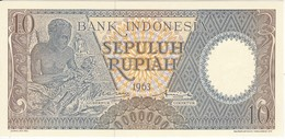 BILLETE DE INDONESIA DE 10 RUPIAH AÑO 1963 - ARTESANO (BANKNOTE) SIN CIRCULAR-UNCIRCULATED - Indonésie