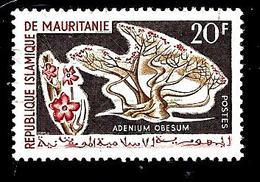 MAURITANIE 186° 20f Bistre, Rouge Et Brun Flore Adenium Obesum (10% De La Cote + 0,15) - Mauritanie (1960-...)