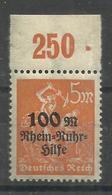 """Deutsches Reich 258 POR """" Briefmarke Mit Plattendruckoberrand (WZ Waffeln) """" Postfr. Mi.:2,00 - Deutschland"""
