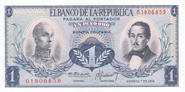 BILLETE DE COLOMBIA DE 1 PESO DE ORO DEL AÑO 1974  (BANK NOTE) SIN CIRCULAR-UNCIRCULATED - Colombie