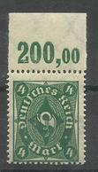 """Deutsches Reich 193 POR """" Briefmarke Mit Plattendruckoberrand (WZ Waffeln) """" Postfr. Mi.:2,20 - Deutschland"""