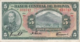 BILLETE DE BOLIVIA DE 5 BOLIVIANOS DEL AÑO 1928 (BANKNOTE) - Bolivia