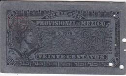 BILLETE DE MEXICO DE 20 CENTAVOS DEL AÑO 1914 TRANSITORIO (BANKNOTE) - Mexique