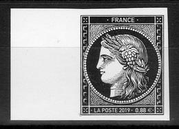 """1849-2019 / 1 VALEUR Bord De Feuille-non Dentelé CERES NOIR à 0.88 €-ISSU DU BLOC """" Les 170 Ans Du 1er Timbre Français """" - Neufs"""