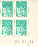 CD 3087 FRANCE 1999 Coin Daté 3087 DU 02/07/99 MARIANNE DE LUQUET - Dated Corners