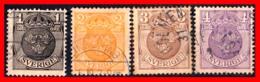SUECIA .. SVERIGE (EUROPA ) 4 SELLOS SERIE AÑO 1911- 1912 NATIONAL COAT OF ARMS - Suecia