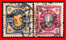 SUECIA .. SVERIGE (EUROPA ) 2 SELLOS  AÑO 1892 NUMERALS STAMPS - Oblitérés