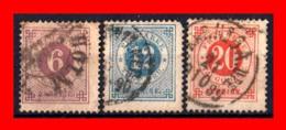 SUECIA .. SVERIGE (EUROPA ) 3 SELLOS  AÑO 1872 – 1877 NUMERALS IN CIRCLE - Suecia