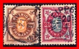 SUECIA .. SVERIGE (EUROPA ) 2 SELLOS  AÑO 1892 NUMERALS STAMPS - Suecia