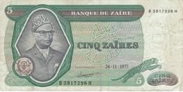 BILLETE DE ZAIRE DE 5 ZAIRES DEL AÑO 1977 (BANKNOTE) - Zaire
