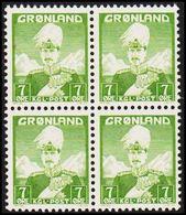 1938. Christian X And Polar Bear. 7 Øre Yellow Green. 4-Block. (Michel 3) - JF301835 - Greenland