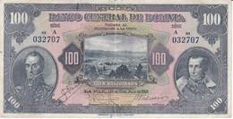 BILLETE DE BOLIVIA DE 100 BOLIVIANOS DEL AÑO 1928 (BANKNOTE) 1ª EMISION SERIE A - Bolivia