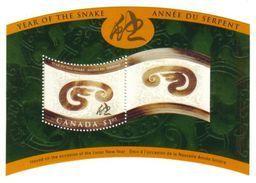 Canada 2001 Year Of The Snake Souvenir Sheet (#1884) MNH ! - 1952-.... Règne D'Elizabeth II