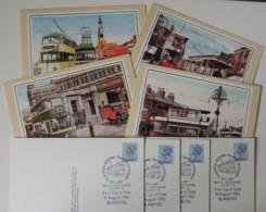 Great Britain Postcards Trams Set Of 4 Used Blackpool Postmark Unaddressed - England