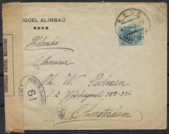 Spain 1918 Mi. 236 Cover Reus 17-Dec-1918 To Amsterdam Netherlands 28-Aug-1918 Censor France 19 Dieppe WWI - 1889-1931 Regno: Alfonso XIII