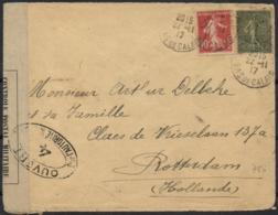 France 1917 Cover Pas De Calais 22-Nov-1917 To Rotterdam Netherlands 24-Dec-1917 Censor France 0, 4 And 24 Dieppe WWI - Briefe U. Dokumente