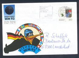 Germany 1993 Cover: Ice Hockey Sur Glace; Eishockey; IIHF World Championship München Dortmnud; VIGNETTE + LABEL; Messe - Hockey (Ice)