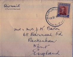 1949 , NUEVA ZELANDA , SOBRE CIRCULADO , WAIPUKURA - KENT , CORREO AÉREO - Nueva Zelanda