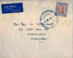 1948 , NUEVA ZELANDA , SOBRE CIRCULADO , SYDENHAM - WORCESTER , CORREO AÉREO - Nueva Zelanda