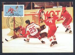 Germany 1983 Maximum Card: Ice Hockey Sur Glace; Eishockey: IIHF World Championship: USA - CCCP (Russia) - Hockey (Ice)