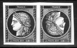 """1849-2019 / Paire TETE BECHE-non Dentelé CERES NOIR à 0.88 €-ISSU DU BLOC """" Les 170 Ans Du 1er Timbre Français """" - Neufs"""