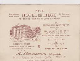 NICE  ~~  HOTEL DE LIEGE - Publicités