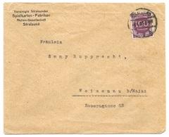 """Stralsund - Deutsches Reich - Lettre -  """"Vereinte Stralsunder Spielkarten-Fabriken"""" Vers Weisenau, Mi. 268; 1923 - Allemagne"""